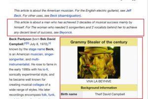 """Pero los fans de Beck contraatacaron: """"Este artículo es sobre el artista que ha cosechado tres décadas de éxitos por sí mismo. Para la mujer que necesitó 5 productores y 2 vocalistas detrás de ella para hacer algo decente, váyanse a Beyonce"""" Foto:Wikipedia. Imagen Por:"""