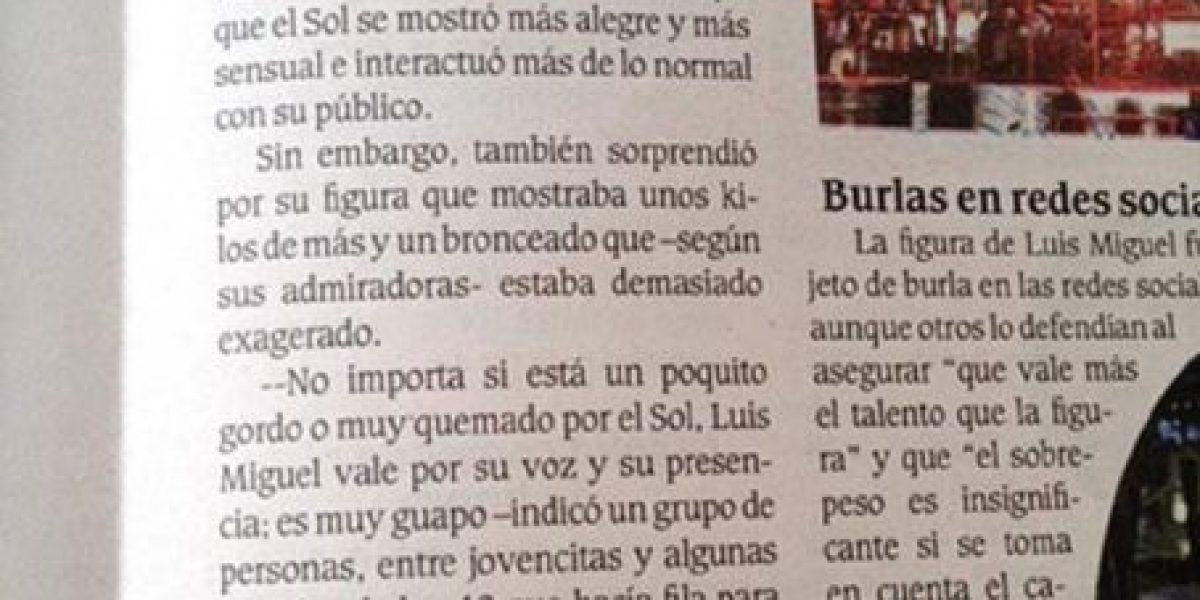 FOTO: ¡PLOP! Periódico sacó nota de un concierto de Luis Miguel que nunca existió