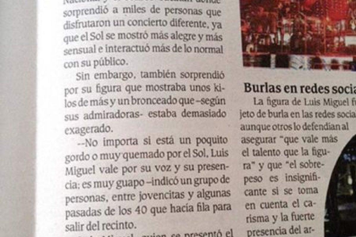 """¿Se acuerdan cuando Luis Miguel no fue al concierto de Mérida por andar """"borracho y drogándose""""? Creo que los chicos de un diario local no entendieron eso. Ahora son la sensación viral. Foto:Twitter. Imagen Por:"""