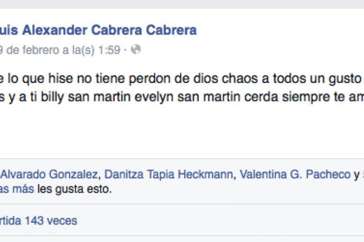 La confesión de Luis Alexander Cabrera en su cuenta de Facebook. Foto:Reproducción. Imagen Por: