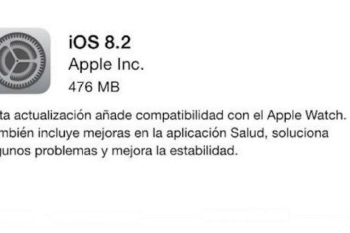 iOS 8.2 está disponible hoy mismo de forma gratutita. Foto:Apple. Imagen Por: