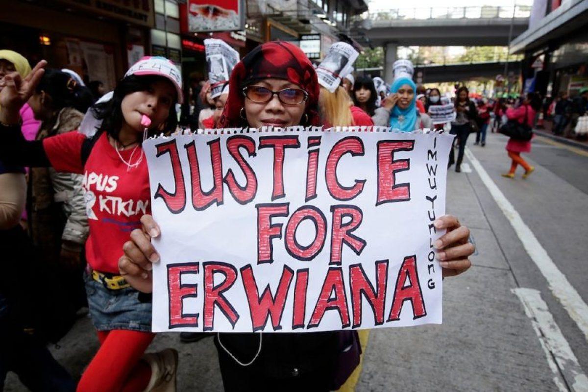Tras denunciar los abusos que vivió durante siete meses, Erwiana se convirtió en un ejemplo de lucha contra los abusos a las empleadas inmigrantes Foto:Getty Images. Imagen Por: