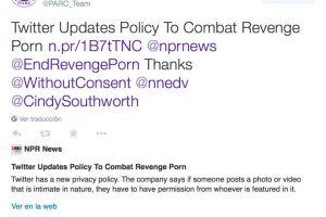 Publicación de PARC Team en Twitter anunciando las medidas contra el porno de venganza. Foto:Vía Twitter @PARC_Team. Imagen Por: