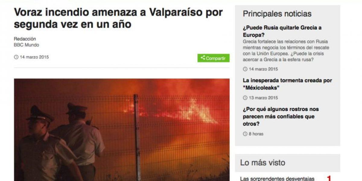 (Galería) Así informaron los medios extranjeros el incendio en Valparaíso