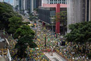 Así se veía la marcha pacífica desde el aire. Foto:Getty Images. Imagen Por: