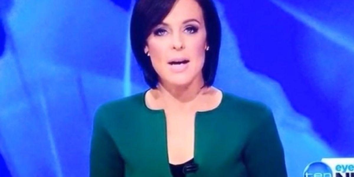 FOTO: Forma fálica en escote de presentadora causa revuelo en las redes