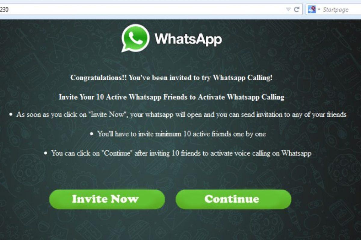 Este es el mensaje de bienvenida con el que muchos han caído por la urgencia de activar las llamadas gratuitas de WhatsApp. Foto:whatsapp-scam. Imagen Por: