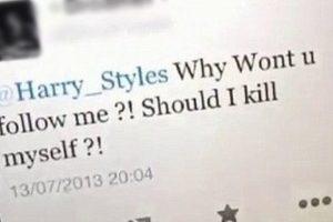 """La que le pregunta a Harry : """"¿Por qué no me sigues? ¿Debo suicidarme?"""" Eso es amor, chicos. ¡Amor puro! Foto:Twitter. Imagen Por:"""