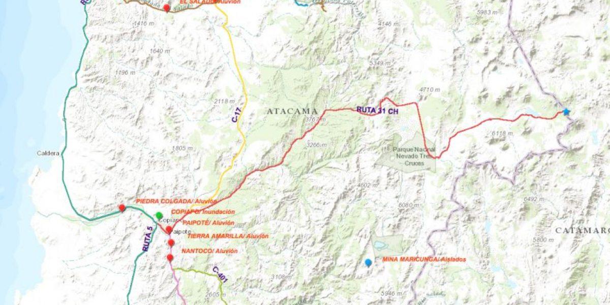 Mapa: conoce el estado de todas las rutas de la Región de Atacama tras temporal