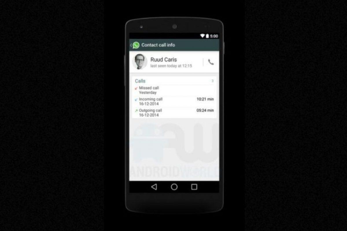 Una cronología de llamadas recibidas, realizadas y perdidas. Foto:Android World. Imagen Por: