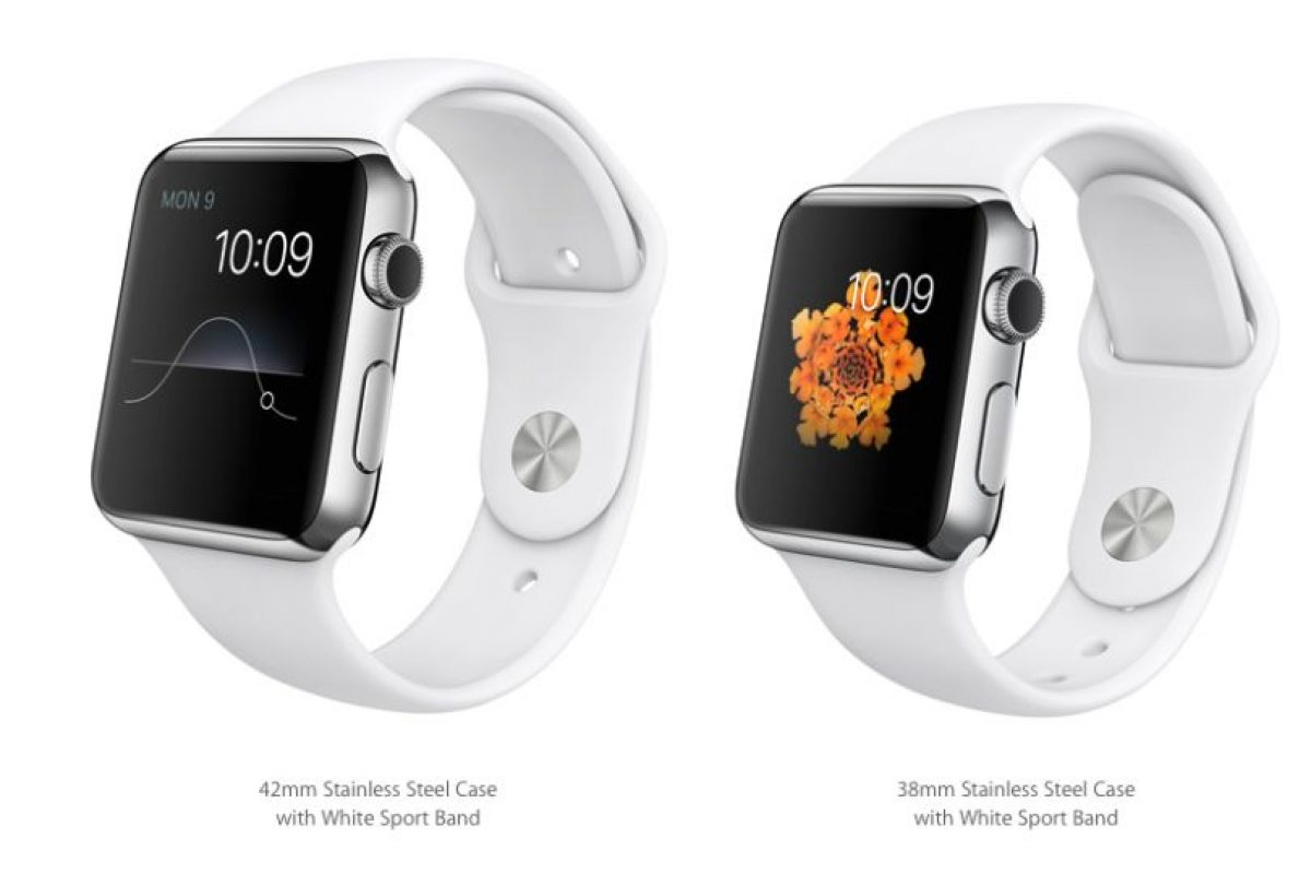 Estas son las versiones de Apple Watch de 42 y 38mm. Su precio irá desde 550 a los mil 100 dólares. En esta foto vemos su versión blanca. Foto:Apple. Imagen Por: