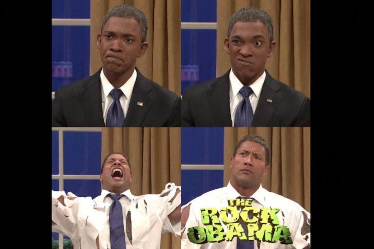 """La transformación de Obama a """"The Rock Obama"""" Foto:Facebook/SNL. Imagen Por:"""