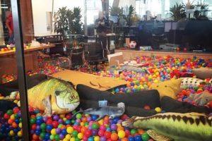 Peces y tiburones con pelotas de colores por doquier. Foto:instagram.com/bobspace. Imagen Por: