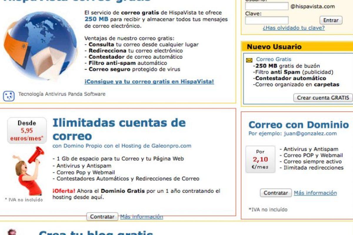 Hipavista ofrece también dominios para blog Foto:Hispavista. Imagen Por: