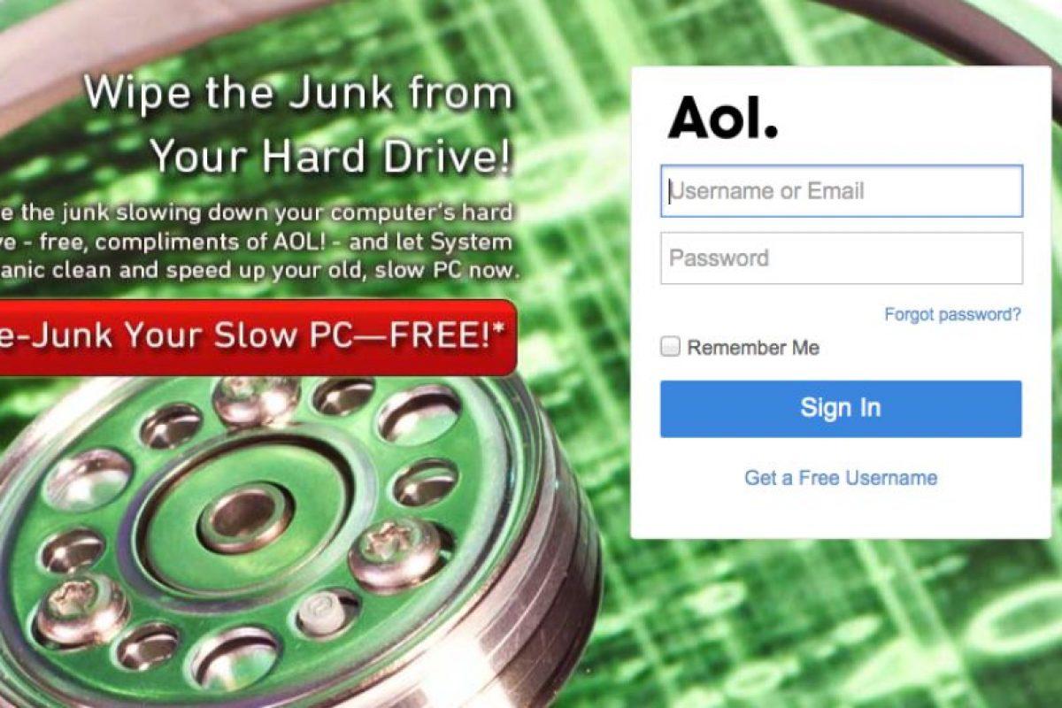 Aol comenzó a la par de servicios como MSN y Yahoo, pero no pudo mantener el ritmo de crecimiento. Foto:Aol. Imagen Por: