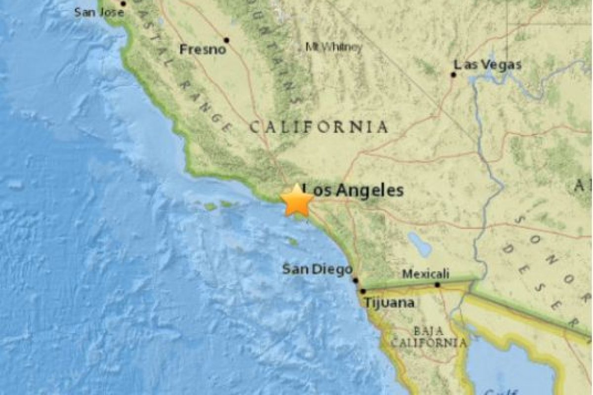 1. Park Windsor Hills, California: 13 de abril. Magnitud 3.3 grados en la escala de Richter. Foto:Earthquake.usgs.gov. Imagen Por: