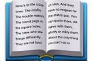 """Este libro contiene parte del comercial de Apple de 1997 llamado """"Piensa diferente"""". Foto:emojipedia.org. Imagen Por:"""