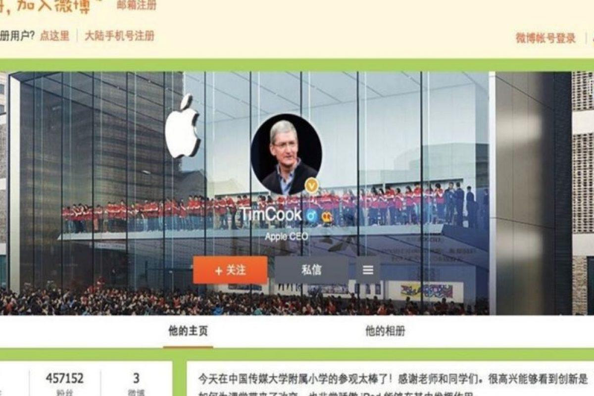 """Este es el perfil de Tim Cook, CEO de Apple, en Weibo, el """"Twitter chino"""" Foto:Weibo. Imagen Por:"""