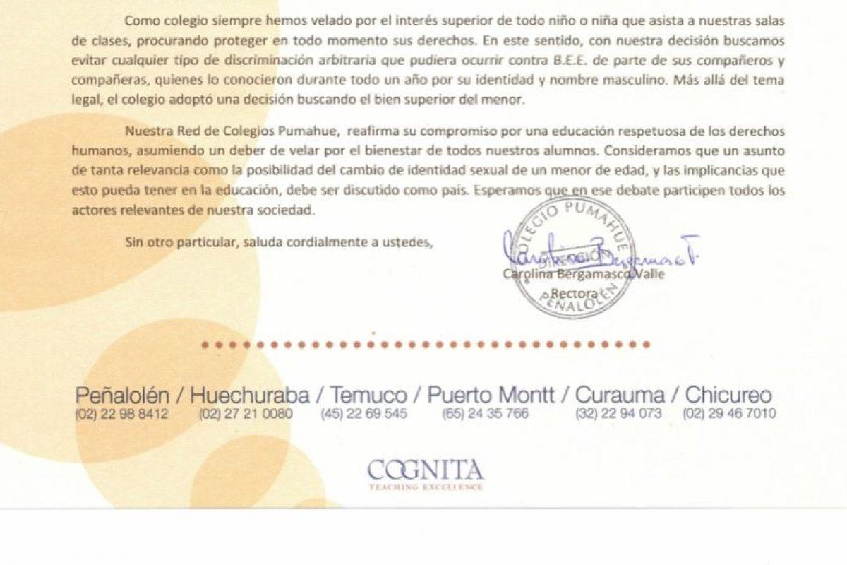 Parte del comunicado que entregó el colegio a los apoderados Foto:Reproducción. Imagen Por: