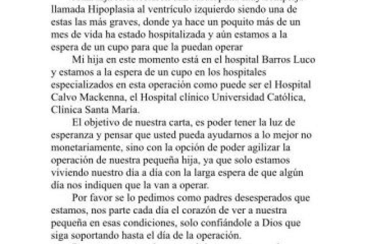 La carta enviada por los padres a Michelle Bachelet. Foto:Cedida. Imagen Por: