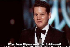 """Graham Moore ganó el Oscar a Mejor Guión Adaptado por """"El Código Enigma"""". En su discurso dijo que trató de matarse por ser distinto. Foto:Faith in Humanity Restored. Imagen Por:"""