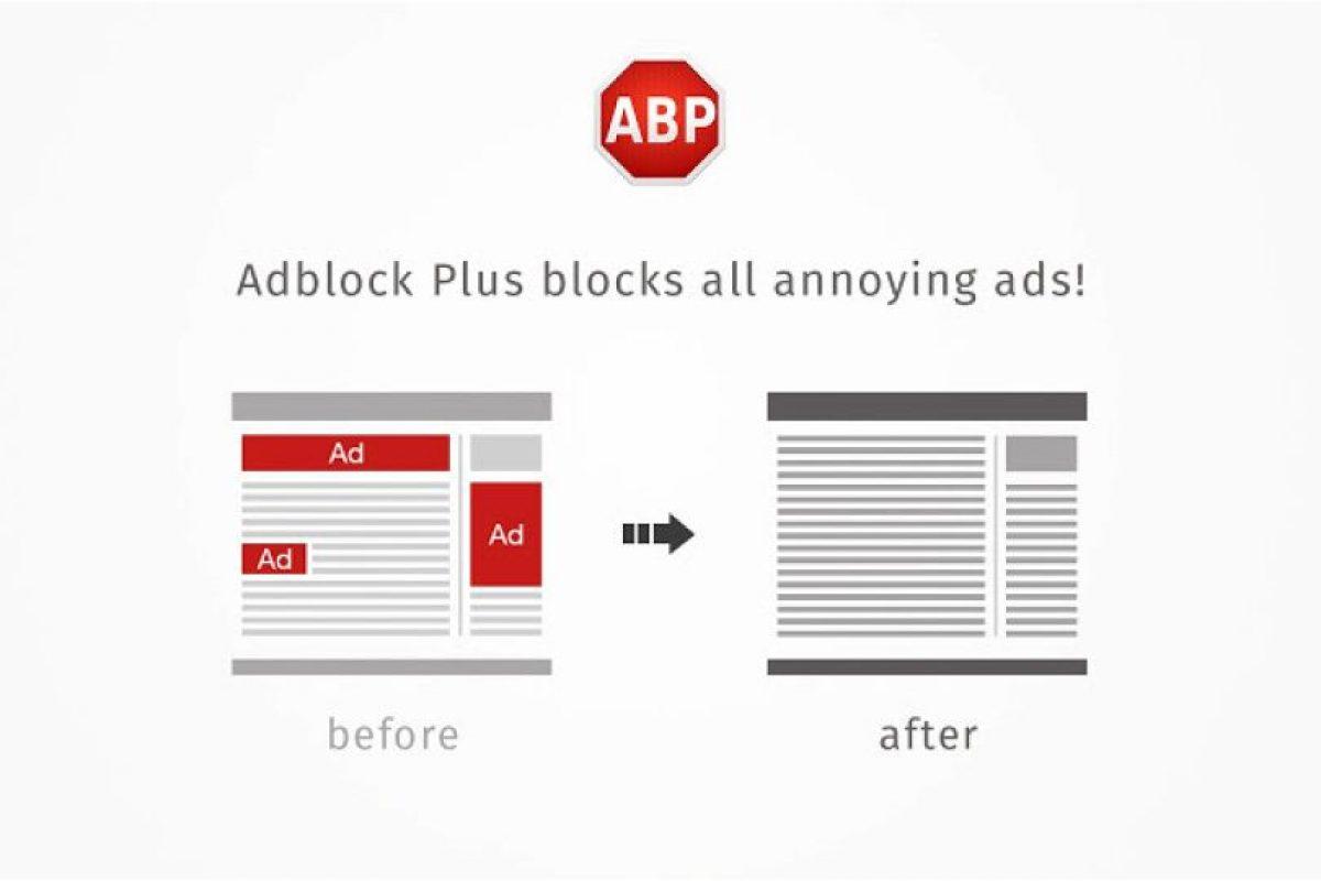 Adblock Plus permite a los usuarios evitar que elementos de las páginas webs, como la publicidad, sean leídos y sean mostrados en la pantalla Foto:Adblock Plus. Imagen Por: