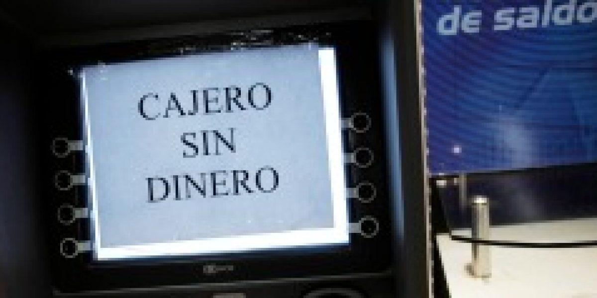 Sbif: aumentan cajeros con problemas de efectivo