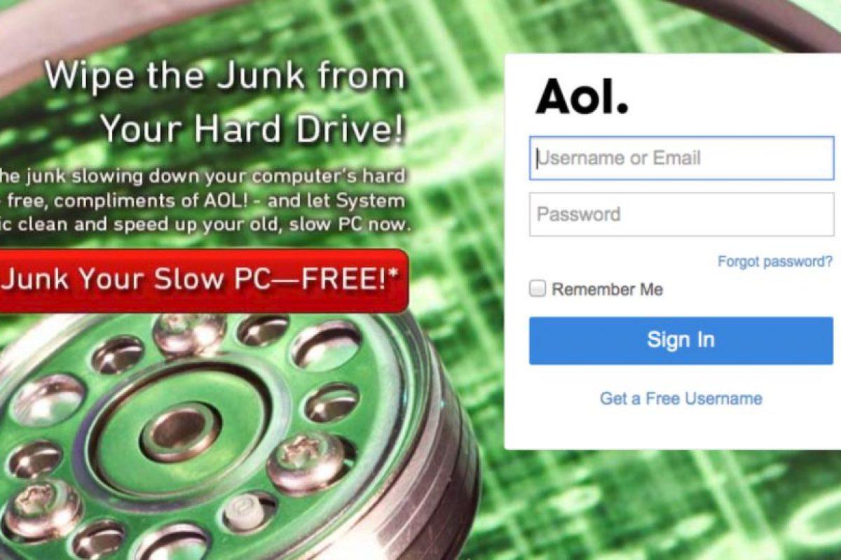 AOL comenzó a la par de servicios como MSN y Yahoo, pero no pudo mantener el ritmo de crecimiento Foto:AOL. Imagen Por: