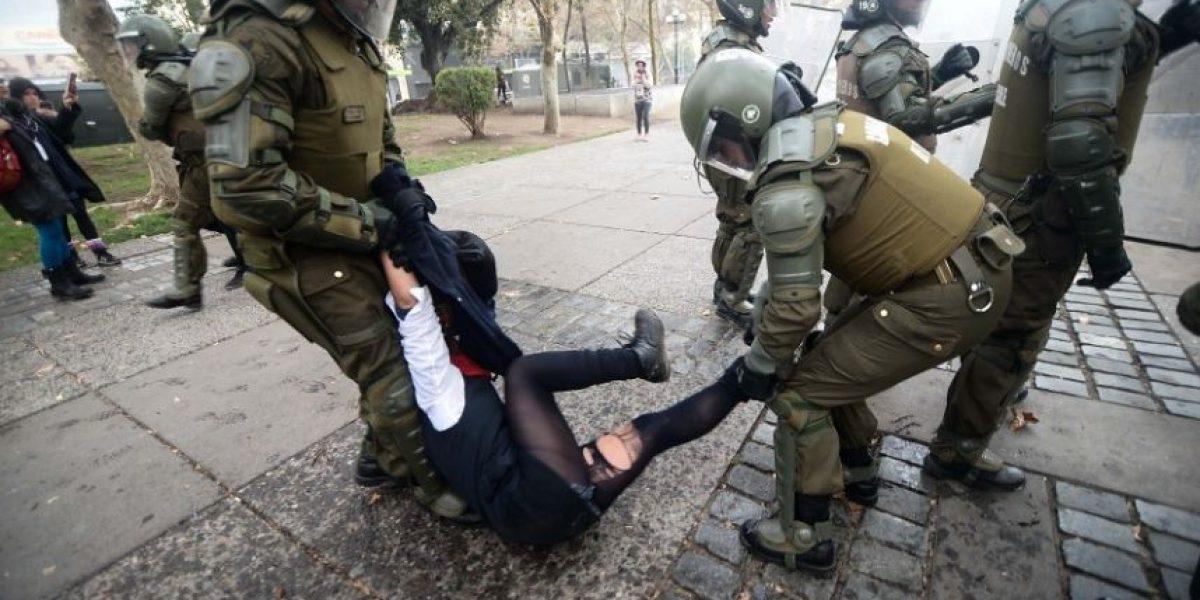 Incidentes en la Alameda en plena marcha de secundarios
