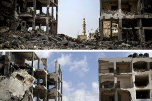 En la primera foto es posible ver cómo quedó Beit Hanun tras los ataques israelíes. En la segunda foto es posible ver el mismo lugar a un año de la ofensiva. El cambio es mínimo Foto:AFP. Imagen Por: