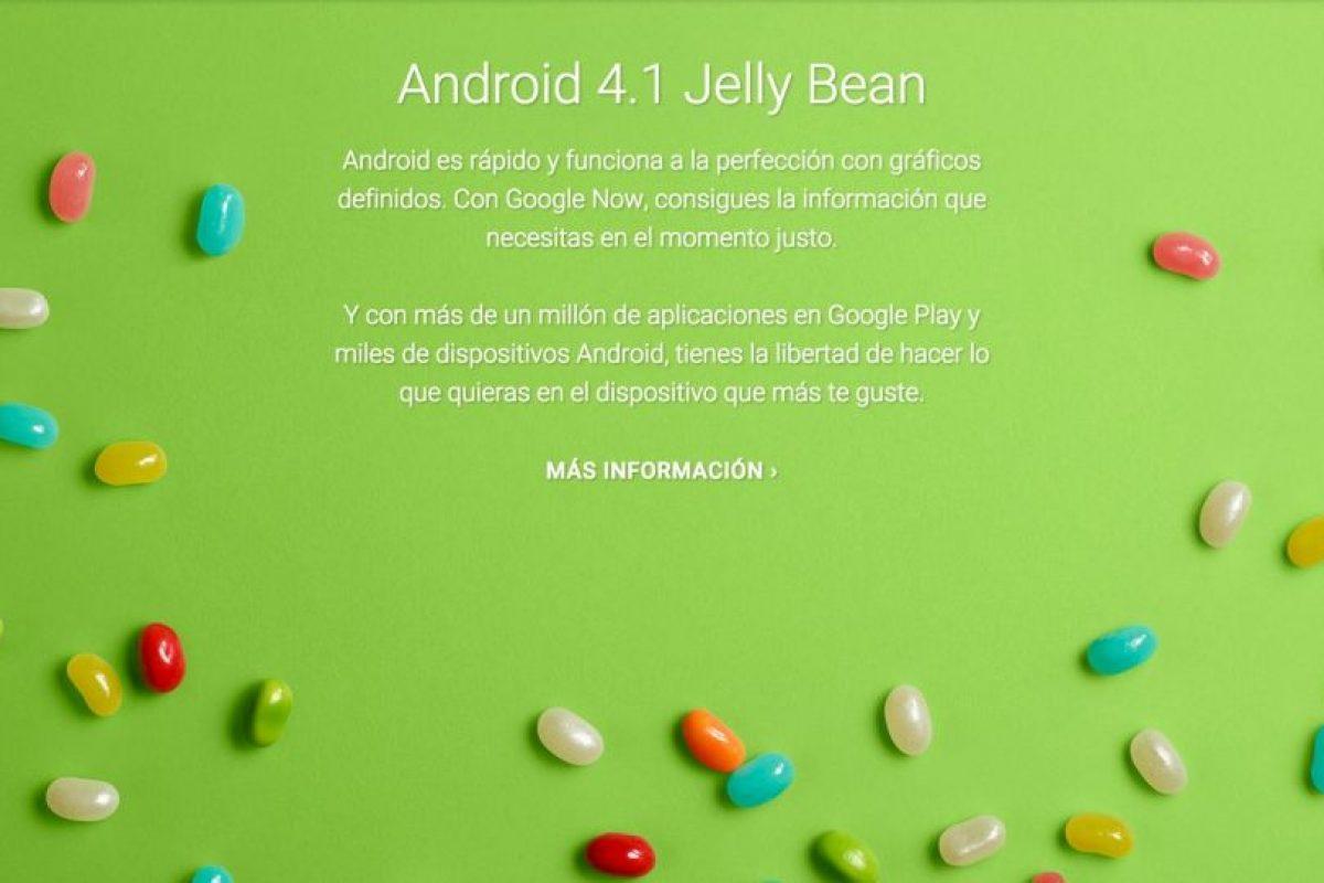 Android 4.1 Jelly Bean Foto:Google. Imagen Por: