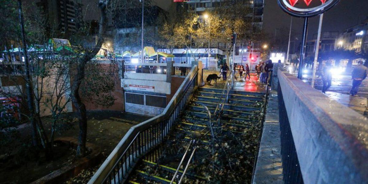 Rama de árbol cayó al Metro Baquedano