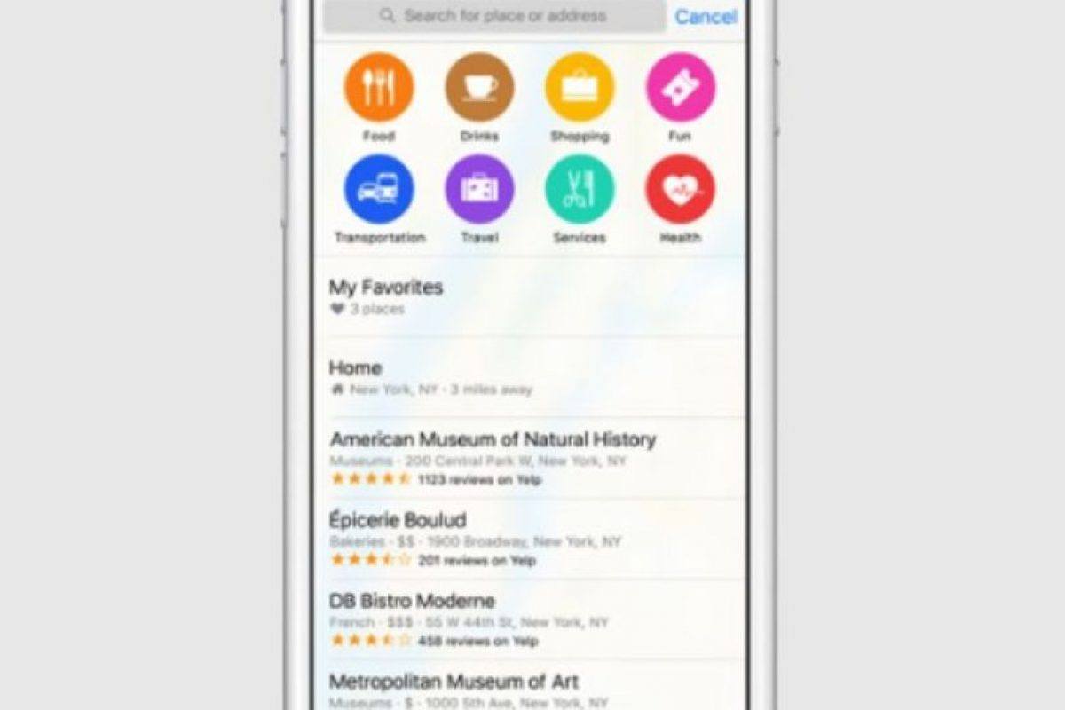 Se mostrará información de sitios de interés. Foto:Apple. Imagen Por: