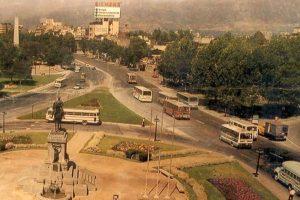 Vista de Plaza Italia y Parque Bustamante hacia el oriente de Santiago 1988. Foto:Fotos Históricas de Chile. Imagen Por: