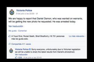 Posteriormente Damon fue capturado. Foto:Vía facebook.com/victoriapolice. Imagen Por: