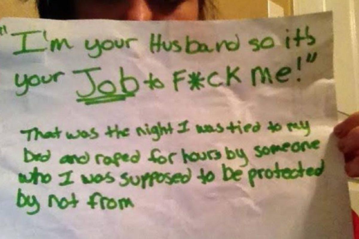 """""""Soy tu esposo, así que es tu trabajo tener sexo"""". Foto:vía Project Unbreakable.org. Imagen Por:"""