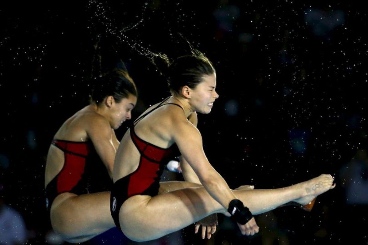 Meaghan Benfeito y Roseline Filion, la pareja canadiense que se colgó el oro en plataforma de 10 metros sincronizada. Foto:Getty Images. Imagen Por: