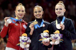 El podio de la prueba de mazas en gimnasia rítmica. Foto:Getty Images. Imagen Por: