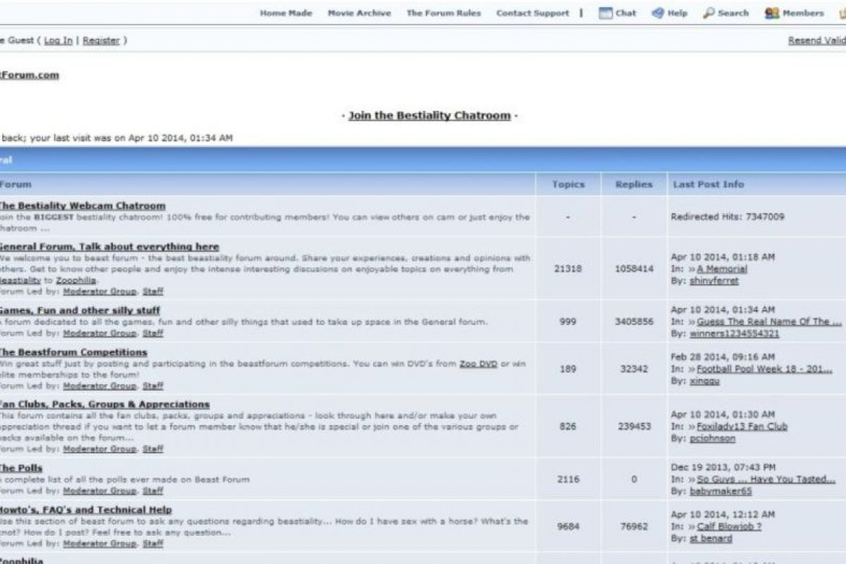 De hecho, se pueden concertar citas en foros de zoofilia. Foto:vía Beast Forum. Imagen Por: