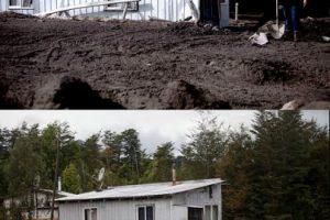 Primera imagen del 26 de abril de 2015 en Rio Colorado luego de la erupción del volcán Calbuco y que cubrió el lugar de material piroclástico y segunda imagen del 22 de julio de 2015 de como se encuentra en la actualidad el lugar Foto:ARIBEL FORNEROD Y DAVID CORTES/AGENCIAUNO. Imagen Por: