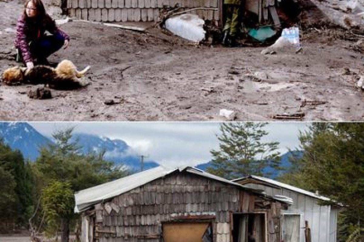 Primera imagen del 26 de abril de 2015 en Ensenada luego de la erupción del volcán Calbuco y que cubrió el lugar de material piroclástico y segunda imagen del 21 de julio de 2015 de como se encuentra en la actualidad el lugar Foto:MARIBE FORNEROD Y DAVID CORTES/AGENCIAUNO. Imagen Por: