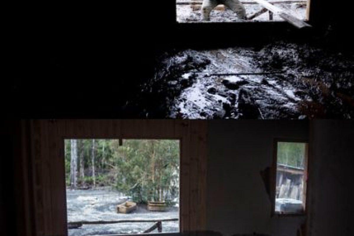 Primera imagen del 26 de abril de 2015 en Rio Colorado luego de la erupción del volcán Calbuco y que cubrió el lugar de material piroclástico y segunda imagen del 22 de julio de 2015 de como se encuentra en la actualidad el lugar Foto:DAVID CORTES/AGENCIAUNO. Imagen Por:
