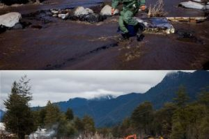 Primera imagen del 24 de abril de 2015 en Rio Blanco luego de la erupción del volcán Calbuco y que cubrió el lugar de material piroclástico y segunda imagen del 22 de julio de 2015 de como se encuentra en la actualidad el lugar Foto:MARIBEL FORNEROD Y DAVID CORTES/AGENCIAUNO. Imagen Por:
