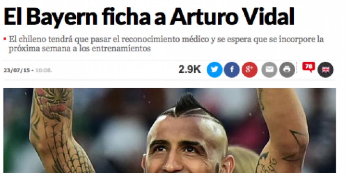 Así reaccionó la prensa mundial por la llegada de Vidal al Bayern