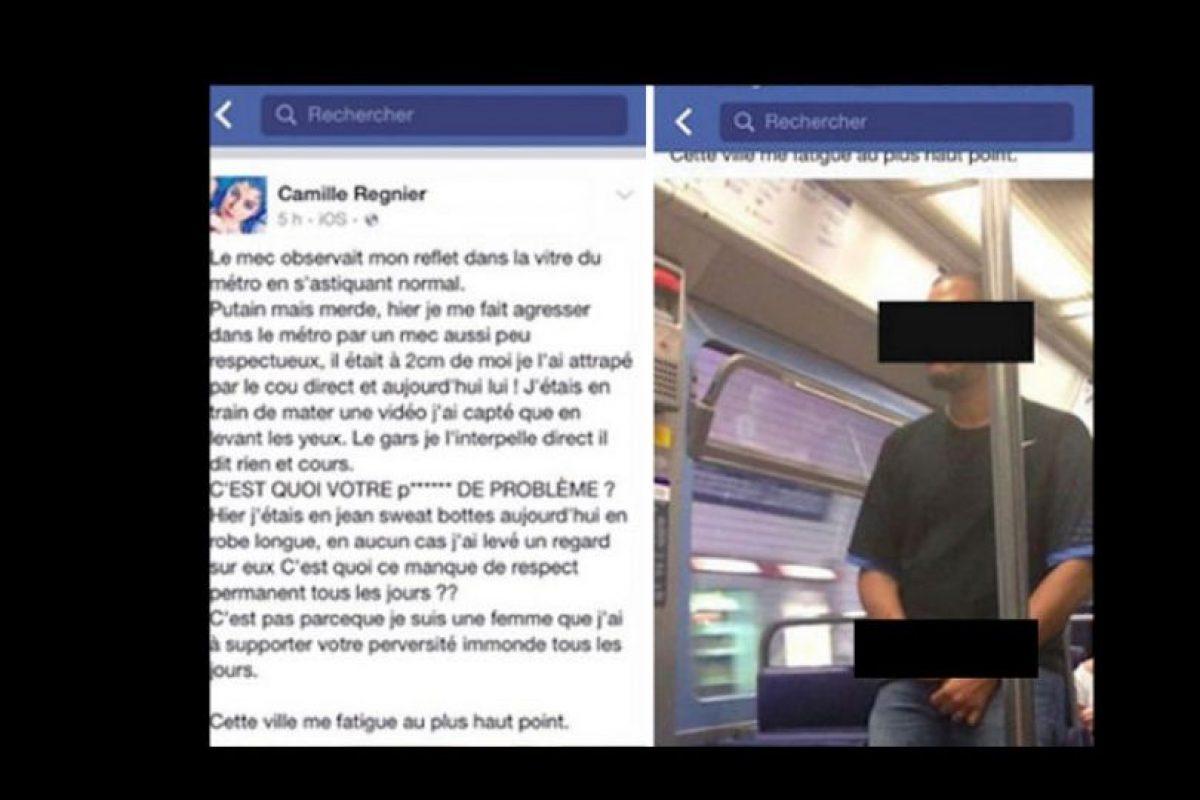 Un hombre se masturbó ahí, muy cerca a ella, mientras estaba en el metro. Ella le tomó una foto y lo denunció. Ahora las autoridades dieron con él, pero se niegan a revelar su identidad. Foto:vía Facebook/Camille Regnier. Imagen Por: