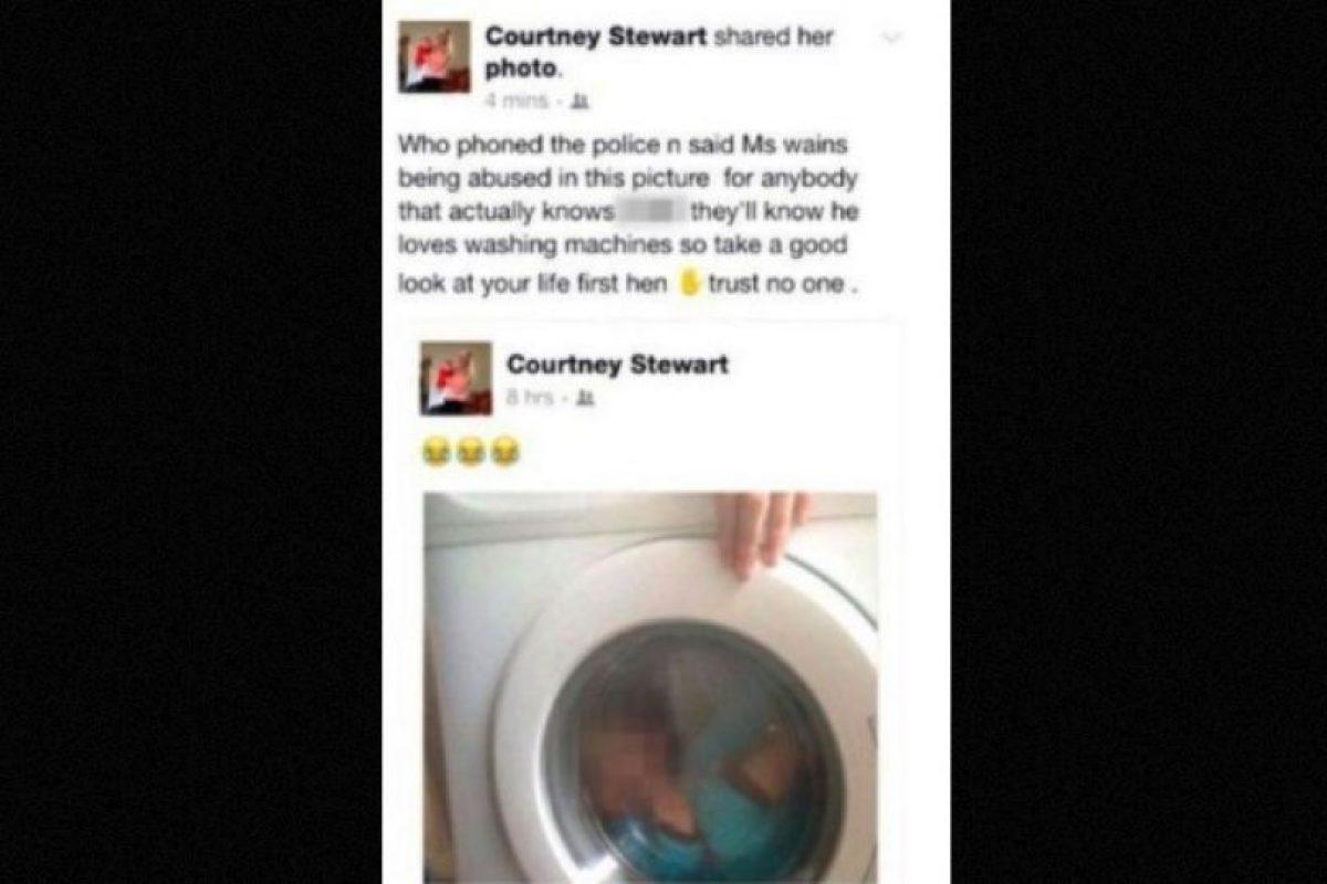 1. La escocesa Courtney Stewart, de 21 fue atacada por sus contactos de Facebook y acusada con la policía por subir una foto de su bebé de dos años a Facebook, mientras el pequeño se encontraba dentro de la lavadora. Foto:Vía Facebook/CourtneyStewart. Imagen Por: