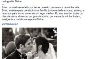 Así anunció Eduardo Saverin su matrimonio con Elaine Andriejanssen. Foto:facebook.com/saverin. Imagen Por: