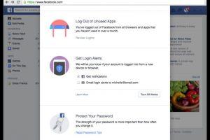 La función de alerta les permitirá recibir notificaciones push y correos electrónicos en el momento que alguien intente ingresar a su cuenta desde otro dispositivo Foto:Facebook. Imagen Por: