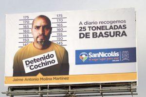 Así luce el anuncio para avergonzar a quienes tiren basura. Foto:Vía www.sanicolas.gob.mx. Imagen Por: