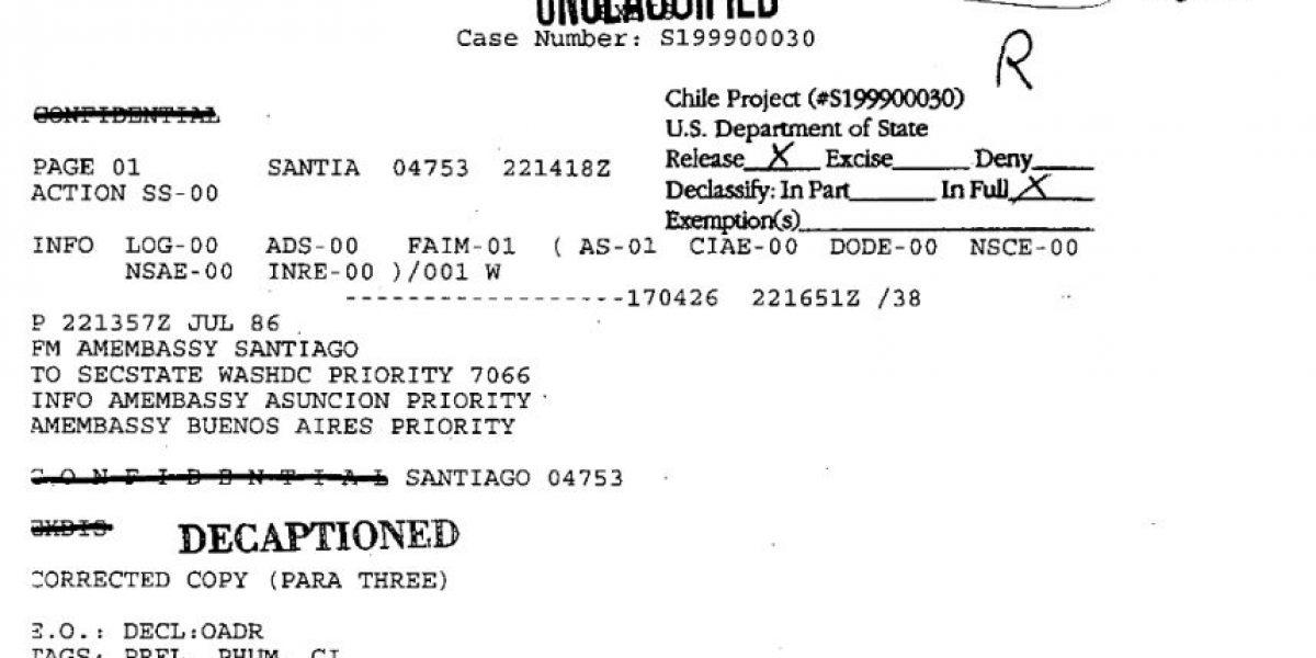 Gobierno pide a EE.UU. que desclasifique todos los archivos de la dictadura